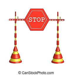 Roadblock stop - Vector illustration of a prohibition sign,...