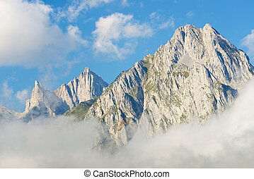 Pyrenees - Peaks in Lescun Cirque. On the left Ansabere...