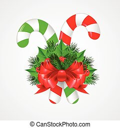 Traditional christmas candy cane with decor. Vector illustration