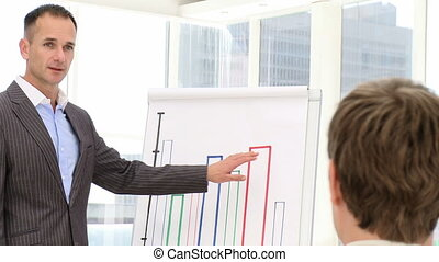 Positive businessman presenting a graph in the office