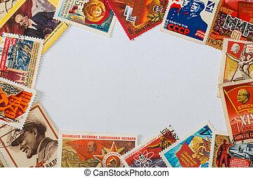 frame of old soviet post stamps