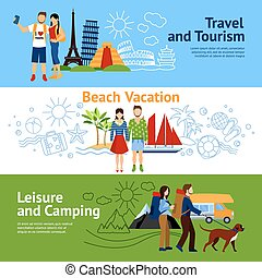 Vacation Options Banners Set - Horizontal flat banners set...