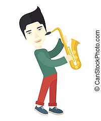 Saxophonist - An asian musician playing saxophone vector...