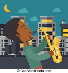 Saxophonist - An african-american musician playing saxophone...
