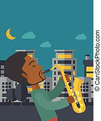 Saxophonist. - An african-american musician playing...