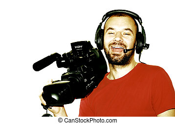 Cameraman - image with a television cameraman working with...