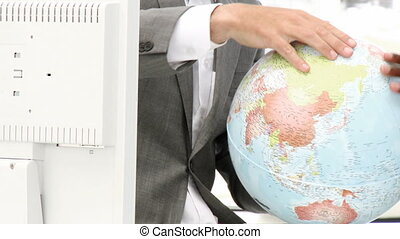 Close-up of a terrestrial globe Business concept