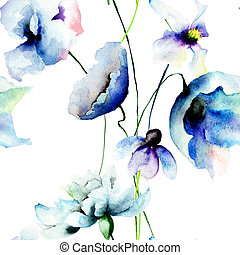 Seamless wallpaper with blue flowers, watercolor...