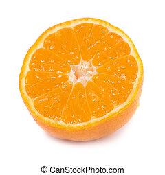 Half of orange mandarin isolated on white background