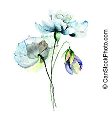 Stylized flower illustration - Stylized flowers watercolor...
