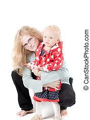 Little girl in studio - Shot of little girl in coat dot...