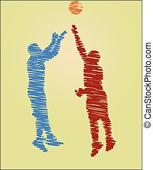 scribble drawing of basketball players