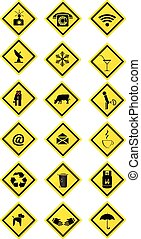 collection of yellow rectangular signs vector illustration