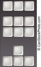 part of keyboard  blank keys vector 3D  illustration gray