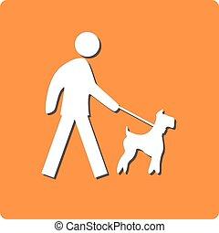 Dog on leash prohibit sign