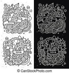 New year doodles elements sketchy and chalkboard emblems -...