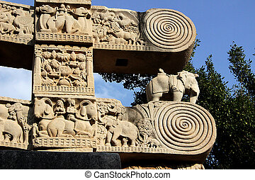 Gateway Pillar Top, Sanchi - Details on top portion of...