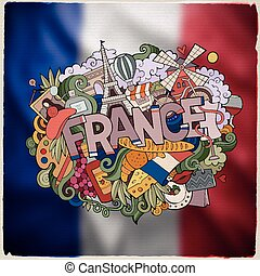 France hand lettering and doodles elements emblem - France...