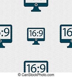 Aspect ratio 16 9 widescreen tv icon sign Seamless abstract...