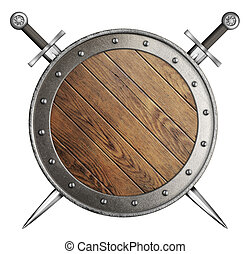 wooden round shield and two crossed swords isolated
