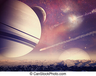 Alien worlds. Universe. Abstract science backgrounds. NASA...