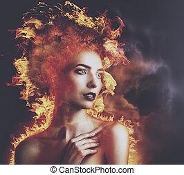inferno, Fire., abstratos, beleza, Retrato, com, queimadura,...