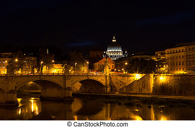 Night view of the Basilica St Peter in Rome, Italy