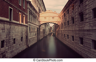 Venice, Ponte dei Sospiri early in the morning before...
