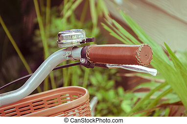 bicycle handle bar in vintage color tone filter
