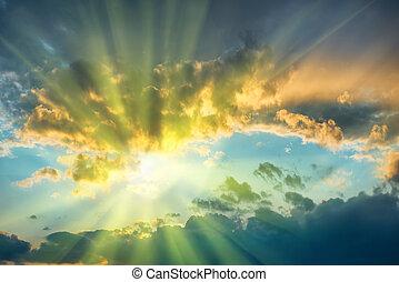 美麗, 藍色, 天空, 太陽
