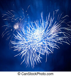 Colorful fireworks - Blue colorful fireworks in heart shape...