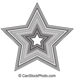 Star - Abstract star illustration with black lines on white...