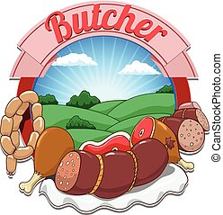 Vector illustration with meat and butcher - Cartoon butcher...