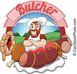 Vector illustration with meat and butcher - Cartoon...