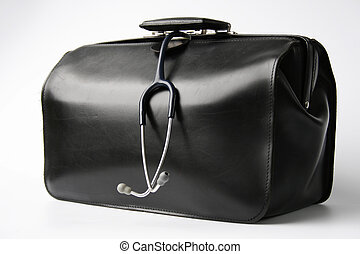 doctors bag - big black doctors bag with stethoscope hanging...