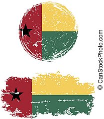 Guinea-Bissau round and square grunge flags Grunge effect...