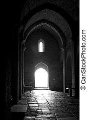 luz, através, igreja, PORTA