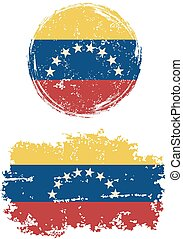 Venezuelan round and square grunge flags. Grunge effect can...