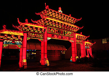 Illuminated temple gate - Big illuminated temple gate made...
