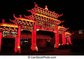 Illuminated temple gate - Big illuminated temple gate made...