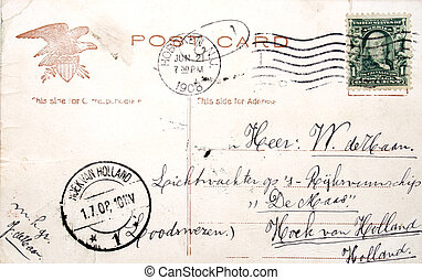 Vintage postcard of 1908 from USA to The Netherlands -...