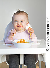 Spaghetti Baby - Little Girl Eating her dinner and making a...