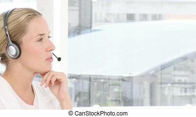 Serious custormer service representative at work