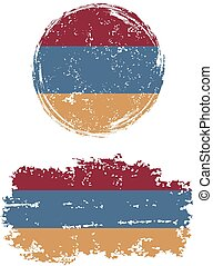Armenian round and square grunge flags. Grunge effect can be...