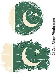 Pakistani round and square grunge flags Grunge effect can be...