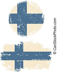 Finnish round and square grunge flags. Grunge effect can be...