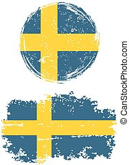 Swedish round and square grunge flags Grunge effect can be...