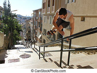 Jumping men in active street life-style, parkour. Istanbul -...