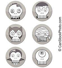 Black and white Halloween Monster skulls such as vampire,...