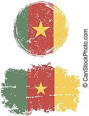 Cameroon round and square grunge flags Grunge effect can be...
